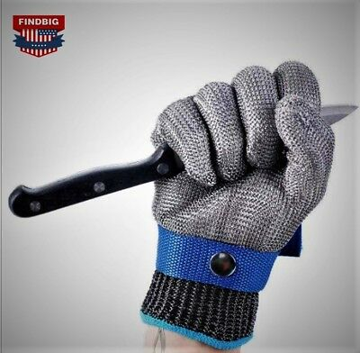 Safety Cut Proof Stab Resistant Stainless Steel Gloves Metal Mesh Butcher Size L