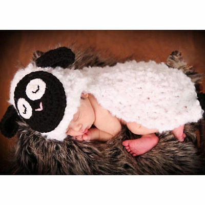 New Baby Infant Lamb Sheep Bag Crochet Animal Costume Outfit Photography Props