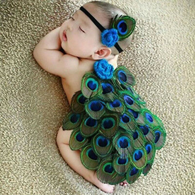 Lovely Baby Peacock Headband Costume Knit Crochet Outfit Set Photography Props