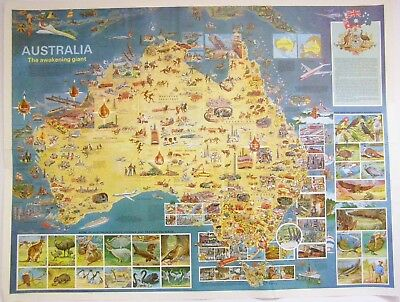 A large, colourful and detailed pictorial map Australia ca. 1960s