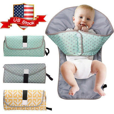 3-in-1 Foldable and Portable Baby Diaper Mat Changing Pad Clutch Station Travel