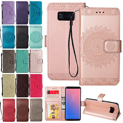 For Samsung S7 S8 Note 9 Floral Magnet Flip Leather Wallet Card Stand Case Cover
