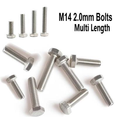 Metric M14 Hexagon Head Bolts Hex Screw 2.0mm Fully Thread A2 Stainless Steel