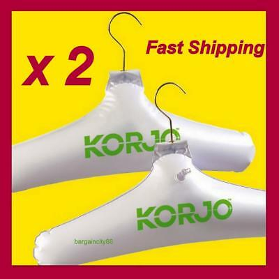 2x Korjo Inflatable Coat Hanger,Travel Camping Hanging Clothes Coathangers Set