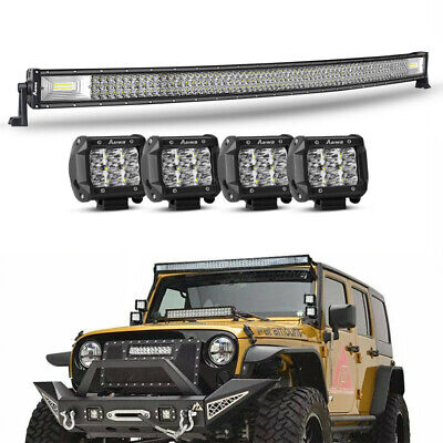 Curved 50 inch LED Spot Flood Work Light Bar + 4x 4'' Driving Offroad 4WD SUV