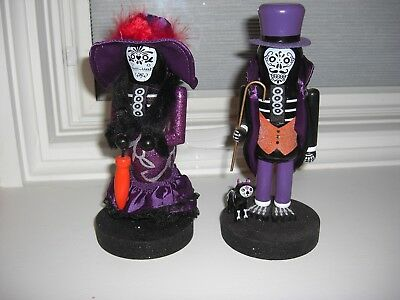 LOT OF 2 Skeleton Nutcracker Halloween Jointed Arms Wood Day of the Dead new