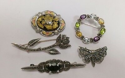 Lot of Five Lovely Vintage Sterling Silver Pins Brooches w/ Gemstones NOT SCRAP