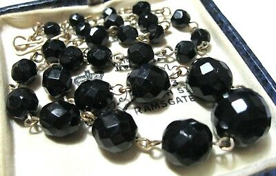 VINTAGE Antique ART DECO French Jet Glass Crystal Bead Rolled Gold NECKLACE