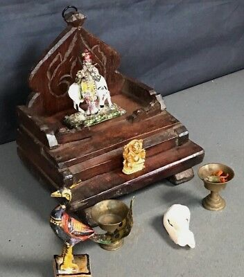 Small Antique / Vintage Indian Home Temple. Hindu Shrine / Altar In Waxed Teak.