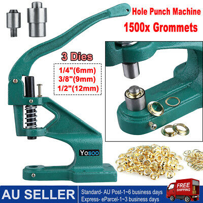 1500cs Grommet Eyelet Hole Punch Machine Hand Press 3 Dies Grommets Industrial