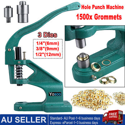 Industrial Grommet Eyelet Hole Punch Machine Hand Press 3 Dies 1500PCS Grommets