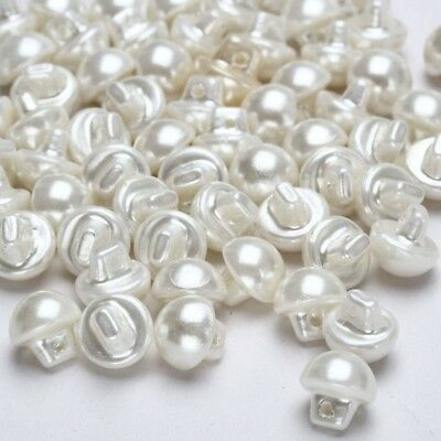 50x Pearl Effect Sewing Buttons Round Domed Clothes Dress Solid White 9mm Hot