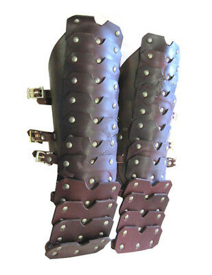 Leather Hand Armor Made With Harness Smooth Leather Wth Brass Buttons scanew