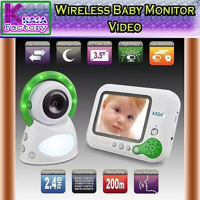 "KASA New Wireless Baby Monitor Video 3.5"" Screen Secure 2.4GHz 200m Range"