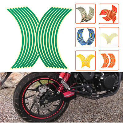 """18"""" 16 Strips Reflective Motorcycle Car Rim Stripe Wheel Decal Tape Stickers New"""