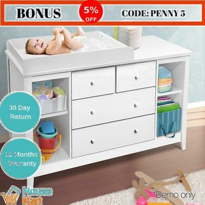 Change Table with Drawers White Baby Organiser Nappy Chest Storage shelve