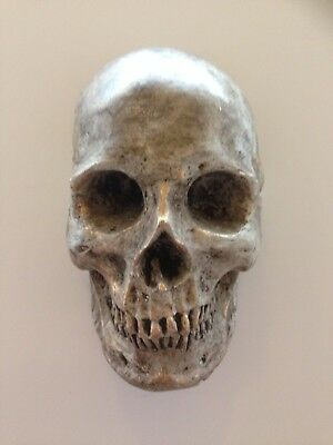 Hand cast style wall hanging skull painted brown and gold colour effect
