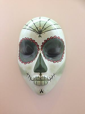 Hand cast Day of the Dead style wall hanging mask