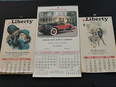 Vintage Reproduction-Set of (3) 1975,1979 and 1985-Nice Illustrations Calendars.