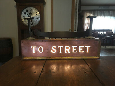 "Rare Antique Copper Underground Subway ""to Street"" Lighted Sign-Glass Letter-24"""