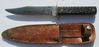 Vintage Imperial USA Fixed Blade Knife.  With Leather Sheath