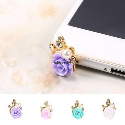 3.5mm Jack Flower Shape Plastic Pearl Rhinestone Mobile Phone Dust Plugs OO55 01