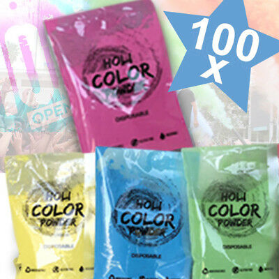 Kit 100 Bustine Holi Party Polvere Polveri Colorate Per Feste Colore