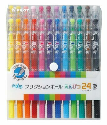 24 FRIXION ERASABLE COLOUR PENS 0.7 'Frixion Ball' Ballpoint Pens Pilot Japan