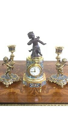 Antique 19thc French 8 Day Bronze Ormolu & Champleve Enamel Mantel Clock Set
