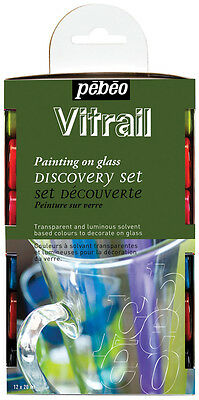 Pebeo Vitrail Stained Glass Solvent Colour Craft Paint Discovery Set 12 x 20ml