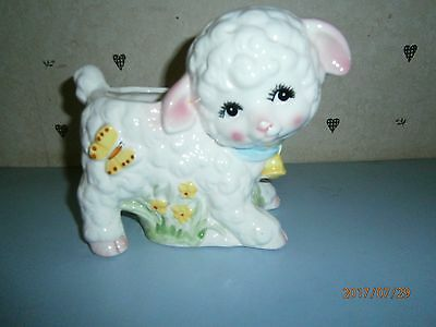 Vtg Baby Planter Inarco Lamb in Grass E-6391 Pottery Ceramic Nursery JAPAN