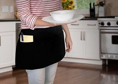 8 piece new black 12x22 diner kitchen tips waitress aprons heavy duty 3 pockets