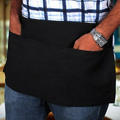 2 piece new black 12x22 waist kitchen tips waitress aprons heavy duty 3 pockets