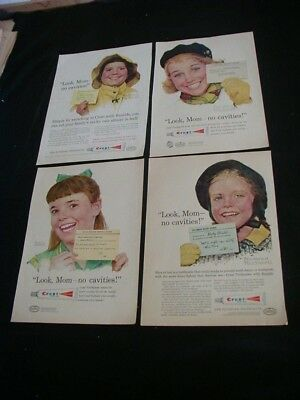 lot of 13 crest toothpaste magazine print ads 1957-1975 norman rockwell kids