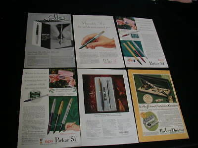 Huge lot of 19 parker pen magazine print ads 1926-1975 fountain duofold 51