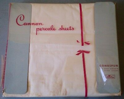 2 Vintage Cannon Combspun 100% Cotton Percale White Full Double Flat Sheets Nip