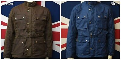 Mens Wax Motorcycle Jacket Classic Coat Belted Biker Waxed Cotton Fashion