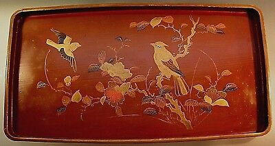 Antique Japanese Lacquer Wood Tray Hand Painted w/ Gold Birds Flowers