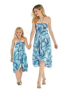 9e77f55096f9 Hawaii Hangover Mother Daughter Matching Luau Outfit In Simply Blue Leaves  White