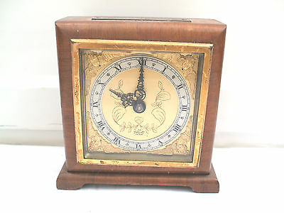 "Elliott Mahogany Case Winding Movement Timepiece Mantle Clock 6""H 5.5""W 2""D"