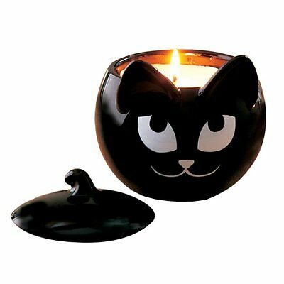 SLY BLACK CAT Trinket Box or Refillable Candle Holder - Partylite - Halloween