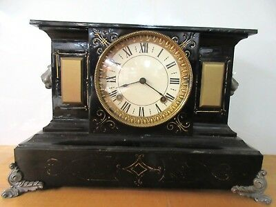 Antique Enameled Cast Iron Shelf Mantle Clock w/ Lion Head, Key & Pendulum