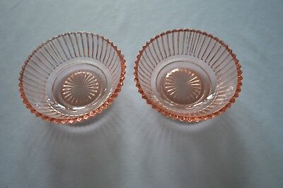 2 Anchor Hocking Pink Queen Mary Berry Bowls