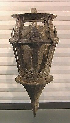 Vtg Antique Arts Crafts Gothic Wrought Iron Hand Hammered Porch Wall Sconce