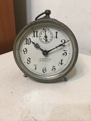 Antique Advertising Alarm Clock Big Ben Style JR White Rochester New York