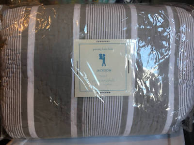 New~Pottery Barn Kids Jackson Striped Grey Gray White Quilt~Twin