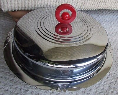 Art Deco Chrome and RED Bakelite Covered Serving Dish Vintage 1940s 2 pc lid set