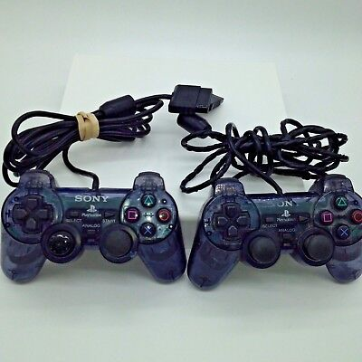 Lot of 2 Sony PlayStation 2 Dualshock 2 Controller Analog Smoke Gray Clear