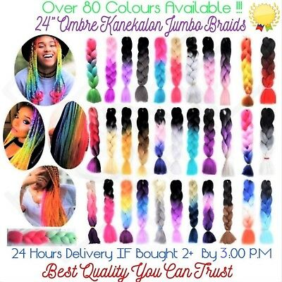 "U.K  24"" Ombre Dip Dye Kanekalon Jumbo Braid Hair - 1st Class Delivery"