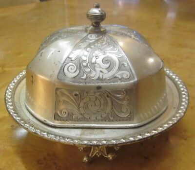 Vintage Ornate Silver Plate Meridian Butter Dome Dish w/Insert c. 1910